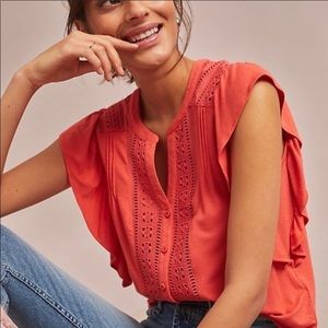 Anthropologie Maeve Kailana Coral Top